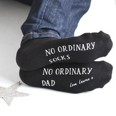 No Ordinary Socks for No Ordinary Dad. These loving personalised socks are a perfect gift for Dad's.   These loving socks are sure to be completely treasured by a Dad on Father's Day, for his Birthday or just to say thank you.   This gorgeous pair of cotton socks is really special as it shouts about an extraordinary Daddy, Dad, Grandpa or Uncle, Brother, Husband or even put a name in there for no ordinary teacher, or no ordinary Daniel.  These socks are a perfect gift for Dad this Fat...