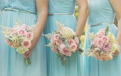 Baby pink flowers and the Donna in Powder Blue are a perfect combination #wedding