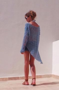 Turquoise blue sweater / Turquoise bluelightweight  by ileaiye, $115.00