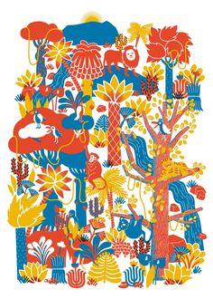 Appears to play / Agathe Demois - Georges Posca Art, Screen Print Poster, Tropical Design, Art Et Illustration, Doodle Art, Art For Kids, Screen Printing, Artsy, Art Prints