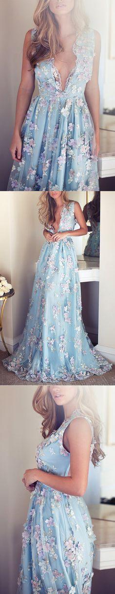 Long prom dresses, blue prom dresses, v neck prom dress, charmimg prom dress, unique prom dress, gorgeous prom dress, evening dress, PD15457 #promdress #prom #evening #eveningdress #dress