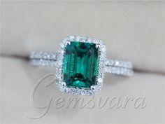 Descuento dos anillos 2.33ct Emerald Diamond 14 K oro blanco anillos de compromiso de boda con coincidencia de banda de la joyería