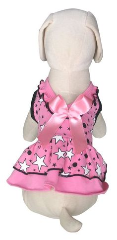 UP-Collection Pink Moon and Stars Dog Dress, Small * Awesome dog product. Click the image : dog clothes