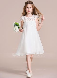Kommunion Empire Knee-length Flower Girl Dress - Chiffon/Lace Sleeveless Scoop Neck With Ruffles Girls Fancy Dresses, Cheap Flower Girl Dresses, Girls Fashion Clothes, Fashion Dresses, Communion Dresses, Pageant Dresses, Party Dresses, Cute Girl Outfits, Special Occasion Dresses