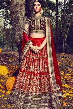 Red And Maroon Designer Party Wear Lehenga Set
