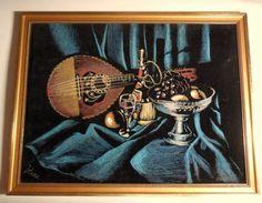 VINTAGE Black Velvet Painting Still Live by BabylonSisters on Etsy, $36.00