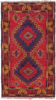 0eff041daa08 Afghan Kazak 2 9 x 4 6 Hand-knotted Rug in Dark Burgundy. Red And BlueWool  RugKnotsArea ...