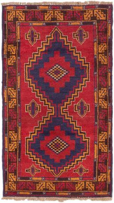 Hand-knotted Kazak Red Wool Rug
