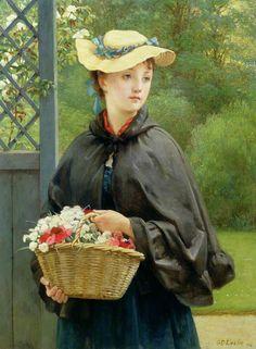 """The Gardener's Daughter"" (1876) by George Dunlop Leslie (1835-1921)."