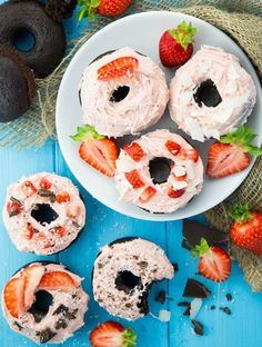 Vegan Chocolate Donuts with Strawberry Frosting