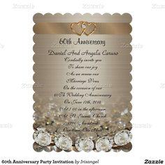 """60th Anniversary Party Invitation 5"""" X 7"""" Invitation Card"""