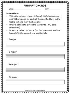 Primary Triads - FREE download. You can never have too many of these worksheets!