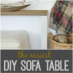 The Easiest DIY Sofa Table - {MATERIALS - 4-3″ x 3″ legs cut to 27.5″, 1 length of flat reclaimed wood, 4 wood screws, drill & bit, 8 -1″ corner brackets, paint/stain} - Attach each leg with single screw in the top and 2 corner brackets underneath