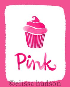 Wall Art Print Color Series- Pink Cupcake.
