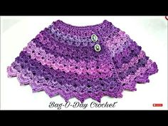 Knitting Patterns Poncho Learn How to The Purple Petunia Baby Shawl size months Closed Caption Crochet Baby Poncho, Baby Shawl, Crochet Cape, Crochet Girls, Crochet Baby Clothes, Crochet For Kids, Crochet Shawl, Learn Crochet, Free Crochet