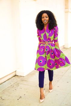 Style Pantry - African Print Wrap Jacket and Capri Jeans that's my style fashion African Inspired Fashion, African Print Fashion, Africa Fashion, African Prints, Ethnic Fashion, African Textiles, African Fabric, African Dress, African Style