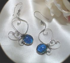 Dichroic Filigree Wire Wrapped Earrings by LittleGemsCo on Etsy