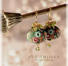 VERBENA beautiful hand made hand appliqued polymer by EvaThissen, $75.00