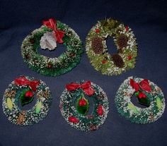 Vintage Christmas Decorations Bottlebrush Wreaths Mercury Glass Ornaments