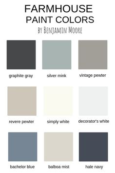 Farmhouse Paint Colors by Benjamin Moore #benjaminmoore #farmhousepaintcolors #modernfarmhousepaintcolors #fixerupperpaintcolors #magnolia #fixerupper #farmhousestyle