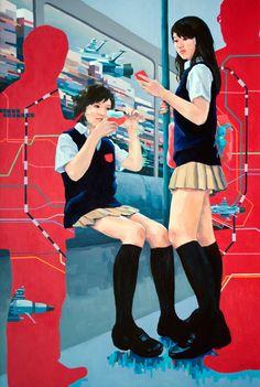 "Yumiko Glover: Moe Elements of the Floating World IV, oil on canvas, 62""""x42"", 2012.   #contemporaryart #moe #otaku #YumikoGlover"