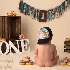 Baby and kids trucker hats. First birthday idea. Boys First Birthday Cake, 1st Birthday Photoshoot, Novelty Birthday Cakes, First Birthday Pictures, First Birthday Party Themes, Donut Birthday Parties, Birthday Themes For Boys, Wild One Birthday Party, Baby Boy Birthday