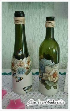 Resultado de imagem para garrafa de vidro com decoupage de navio