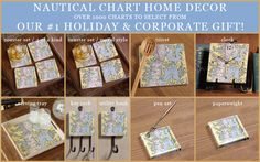 Nautical Chart Home Decor. Over 1000 charts to select from. Our #1 holiday and corporate gift! Coaster set, trivet, clock, serving tray, key rack, utility hook, pen set and paperweight.