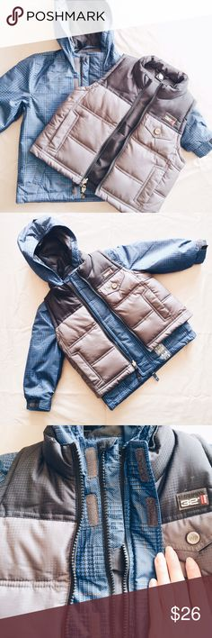 🎄BOGO 50% OFF🎄Weatherproof Jacket/Vest Set NWOT Weather Proof zip up hoodie jacket and vest set can be worn together or separately. Jacket has velcro closure on top of the zipper and cuffs. The vest pockets also have a velcro closure and is reversible! Perfect to keep your little one warm through the winter ❄️ 👉 Brand New w/o Tags    Bundle or make an offer 😘 Feel free to ask questions! Weatherproof Jackets & Coats Puffers