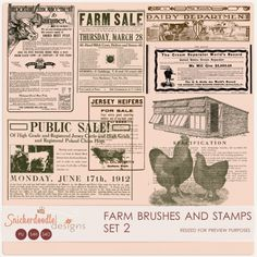 Farm Brushes and Stamps Set 2#SnickerdoodleDesigns  A set of 8 vintage farm-related graphics, taken from 1915 newspapers. Graphics are very large in size, and have been resized for preview purposes.   Included: (8) vintage, farm-related graphics; PNG format; 300 dpi