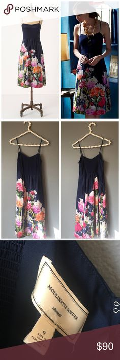 Anthropologie Moulinette Soeurs Floral Silk Dress So gorgeous and perfect for spring and summer! Brand new with $148 tags. Size 0. 100% silk. No trades!! 03717200csf Anthropologie Dresses