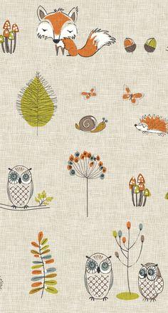 Fryett's Fabrics: Woodland, owl, fox, acorn, hedgehog, butterfly, autumn, craft, curtains. Stone, beige, mushroom, leaves. Leaf.