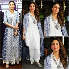 Ethnic Waves. A beautiful ethnic ensemble of white and blue. The prints look lovely teamed with the solid white kurta. We love how the silver neck-piece completes the look with its antique touch. https://www.estrolo.com/whatstrending/cat/celeb-style/ #blue #white #ethnic #necklace #kareenakapoor