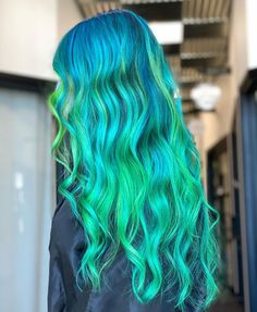 @kayla.hardcorehair slays this turquoise color melt - Use Cyan Sky + Aurora Green + Sea Witch for this color combo #lunartides #hairdye #bluehair #greenhair Beautiful Hair Color, Cool Hair Color, Hair Colors, Turquoise Hair, Turquoise Color, Dyed Hair Blue, Color Melting, Green Hair, Blue Velvet