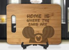 Home is Where the Ears Are Mickey Hat Engraved Cutting Board