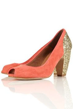 JAZZHANDS Coral Glitter Peep Shoes