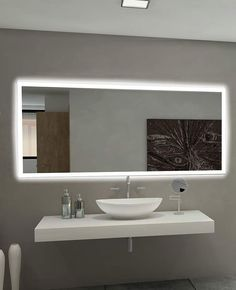 Dimmable Rectangle Backlit Mirror 85 X 40 In Paris Mirror pertaining to measurements 1207 X 1485 Bathroom Mirror Backlit - Bathrooms ought to no longer be Light Up Bathroom Mirror, Rectangular Bathroom Mirror, Bathroom Lighting, Modern Bathroom Mirrors, Glamorous Bathroom, Bathroom Faucets, Big Bathrooms, Amazing Bathrooms