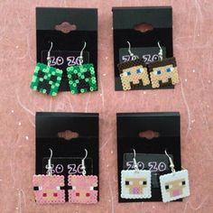 Minecraft hama perler bead earrings by ZoZoTings