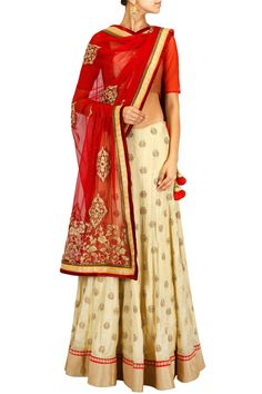 Gold and red embroidered lehenga set BY SVA. Shop now at: http://www.perniaspopupshop.com/ #perniaspopupshop #goldandred #embroidered #lehenga #designer #SVA # attractive #beautiful #fashion #glamorous #style #happyshopping #artistic #exquisite #label #love
