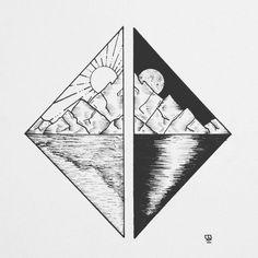 Triângulo Sol e Lua entre montanhas.