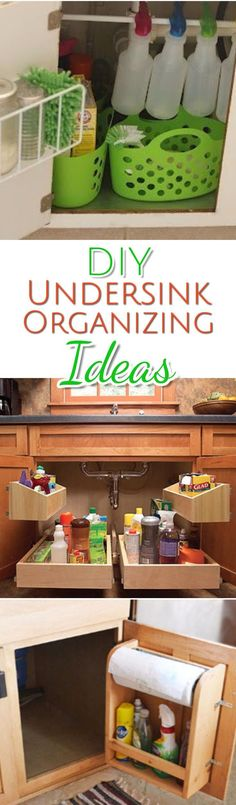 These are some great ideas to declutter and organize under the kitchen sink