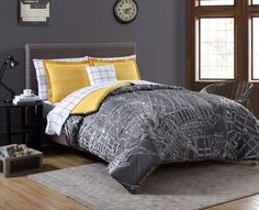 6 Piece Twin XL Complete Bedding Comforter Set Modern City Yellow Grey Design | eBay