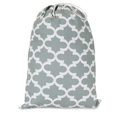 Printed Laundry Bag-Gray Trellis