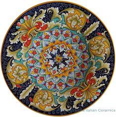 Ceramic Majolica Plate - Jubilant Red Orange Blue 47cm
