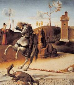 Saint George From the Pala Pesaro Giovanni Bellini c Italian Civic Museum Pesaro Italy Canvas Art - Giovanni Bellini x Renaissance Artists, Italian Renaissance, Painting Frames, Painting Prints, Art Prints, Venetian Painters, Andrea Mantegna, Saint George And The Dragon, Giovanni Bellini
