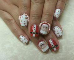 Santa, Santa suit. Polka-dots. Christmas nails. #PreciousPhanNails