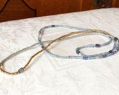 Iolite Beaded Wrap Bracelet Soft Blues Genuine by NonaDesigns