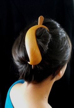 handmade cherry wood hair piece, by janadebra