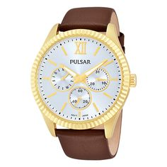 Pulsar Business Collection Day / Date PP6144 - Quartz Pulsar Watch... (405 BRL) ❤ liked on Polyvore featuring jewelry, watches, roman numeral watches, gold tone jewelry, quartz wrist watch, brown jewelry e gold tone watches