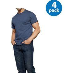 XL $13 for 4pk, New Reinvented Tee! Fruit of the Loom Men's Assorted Color Crews, 4-Pack
